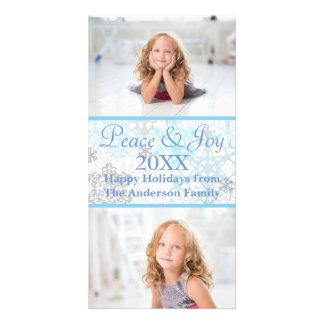 Copos de nieve blancos/azules 2 fotos - tarjeta de tarjetas con fotos personalizadas