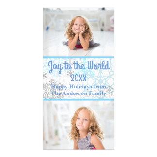Copos de nieve blancos/azules 2 fotos - tarjeta de tarjetas personales con fotos