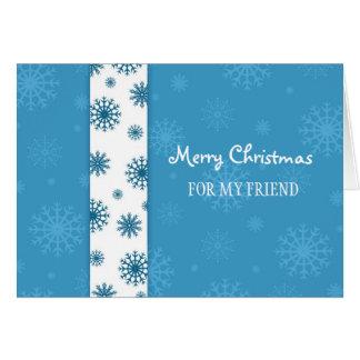 Copos de nieve blancos azules de la tarjeta de las