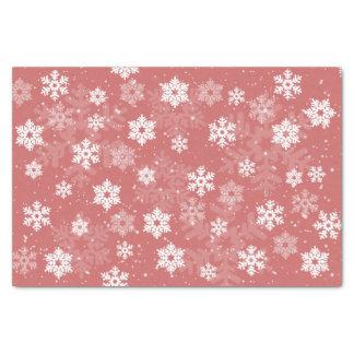 Copos de nieve blancos en tejido texturizado rosa papel de seda