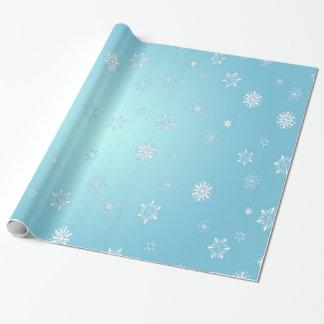 Copos de nieve blancos papel de regalo