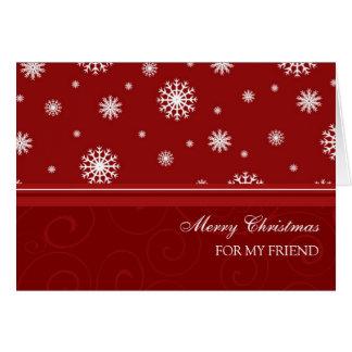 Copos de nieve blancos rojos de la tarjeta de las