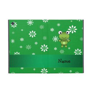 Copos de nieve conocidos personalizados del verde  iPad mini funda
