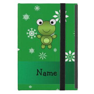 Copos de nieve conocidos personalizados del verde iPad mini fundas