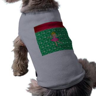 Copos de nieve conocidos personalizados del verde camiseta de perro