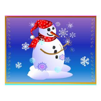 Copos de nieve de cogida del muñeco de nieve del postal