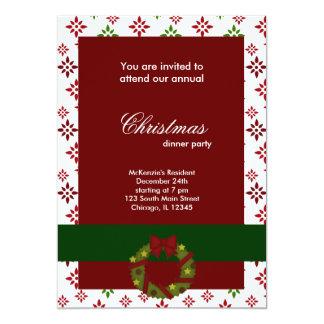 Copos de nieve de la cena de navidad invitación 12,7 x 17,8 cm