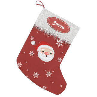 Copos de nieve de Santa y medias blancas del Calcetín De Navidad Pequeño