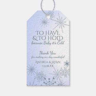 Copos de nieve del boda del invierno azules etiquetas para regalos