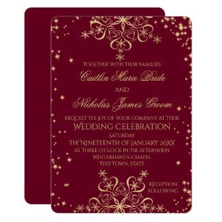 Copos de nieve del boda del invierno del oro y de invitación 12,7 x 17,8 cm