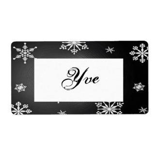 Copos de nieve del navidad negros y plantilla gris etiqueta de envío