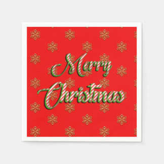 Copos de nieve del oro de las Felices Navidad de Servilletas De Papel