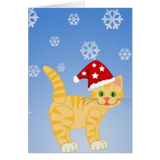 Copos de nieve divertidos del amarillo del gato de tarjeta
