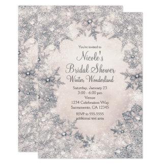 Copos de nieve elegantes blancos de la crema del invitación 12,7 x 17,8 cm