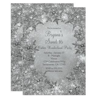 Copos de nieve elegantes de plata puros del país invitación 12,7 x 17,8 cm