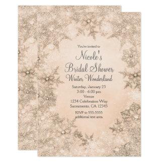 Copos de nieve elegantes poner crema invitación 12,7 x 17,8 cm