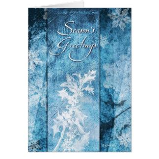 Copos de nieve en los saludos de las Azul-Estacion Tarjeta De Felicitación