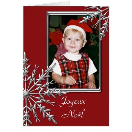 Copos de nieve en navidad rojo del francés de tarjeta de felicitación