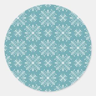 Copos de nieve estilizados pegatina redonda