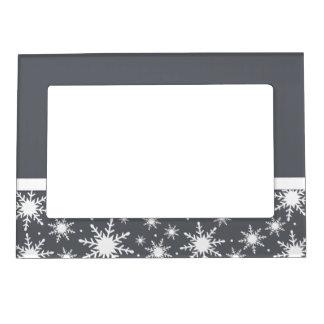 Copos de nieve grises y blancos marcos magneticos para fotos