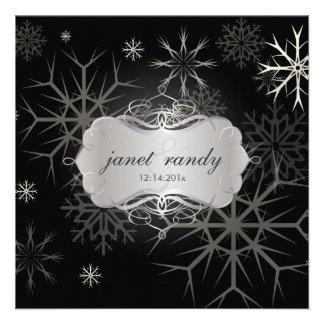 Copos de nieve invitaciones del boda del invierno
