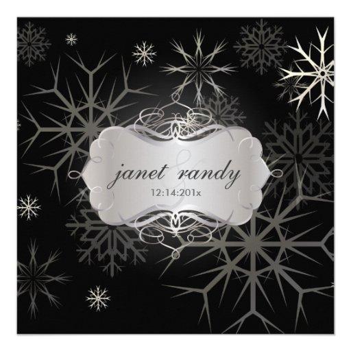 Copos de nieve, invitaciones del boda del invierno comunicados