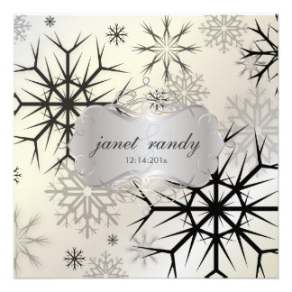Copos de nieve negro invitaciones del boda del i