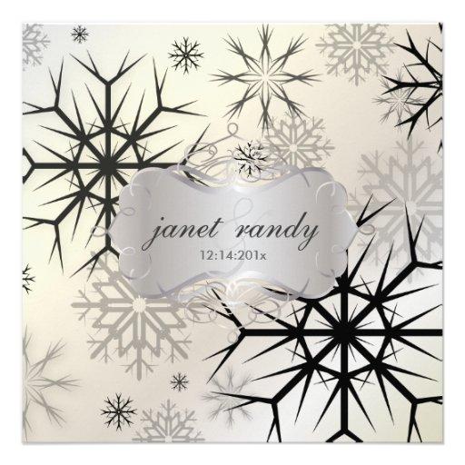 Copos de nieve, negro, invitaciones del boda del i comunicado personalizado