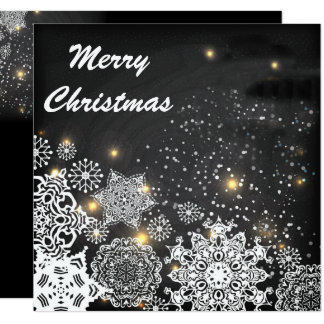 Copos de nieve planos del estilo en tarjeta de invitación 13,3 cm x 13,3cm