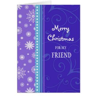 Copos de nieve púrpuras azules de la tarjeta de la