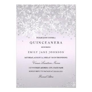 Copos de nieve púrpuras del país de las maravillas invitación 12,7 x 17,8 cm