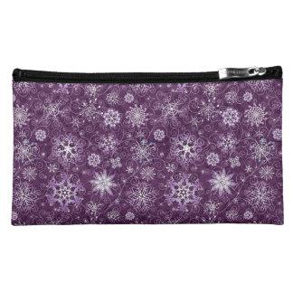 Copos de nieve púrpuras para el dolor crónico estuche de maquillaje de ante