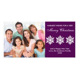 Copos de nieve púrpuras - tarjeta de la foto