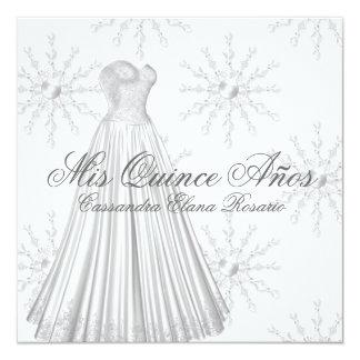 Copos de nieve Quinceanera del blanco de vestido Invitación 13,3 Cm X 13,3cm