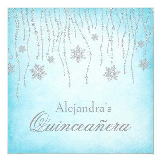 Copos de nieve Quinceanera del diamante del país Invitación 13,3 Cm X 13,3cm