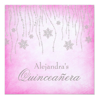 Copos de nieve Quinceanera del país de las Invitación 13,3 Cm X 13,3cm