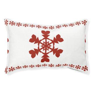 Copos de nieve rojos cama para mascotas