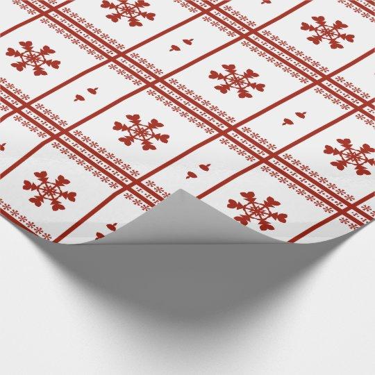 Copos de nieve rojos papel de regalo