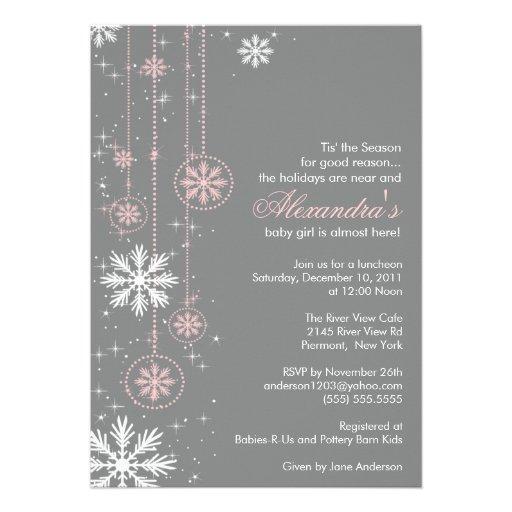 Copos de nieve rosados del invierno de la invitaci invitacion personal