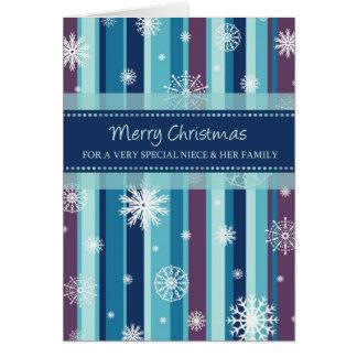 Copos de nieve sobrina y tarjeta de las Felices