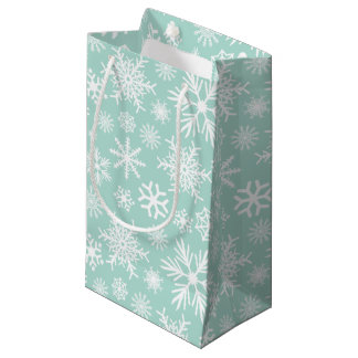 Copos de nieve verdes y blancos del día de fiesta bolsa de regalo pequeña