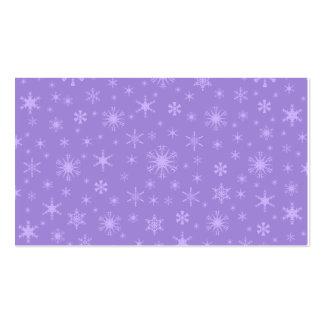 Copos de nieve - violados claros en violeta tarjetas personales