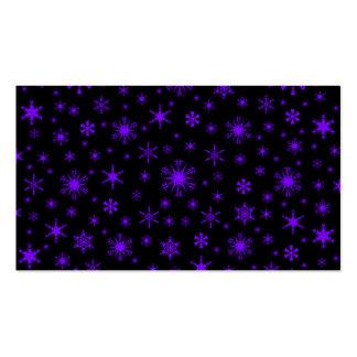 Copos de nieve - violeta en negro tarjeta de visita