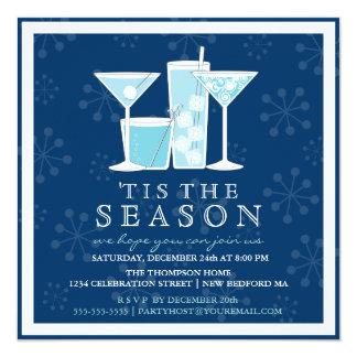 Copos de nieve y cóctel azules helados del día de invitación 13,3 cm x 13,3cm