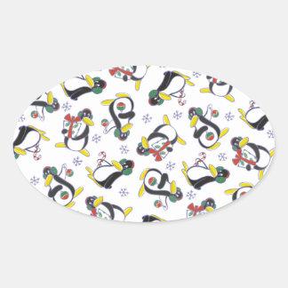 Copos de nieve y pegatina de los pingüinos