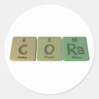 Cora como radio del oxígeno del carbono etiqueta redonda