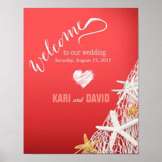 Coral del signo positivo del boda de playa de la póster