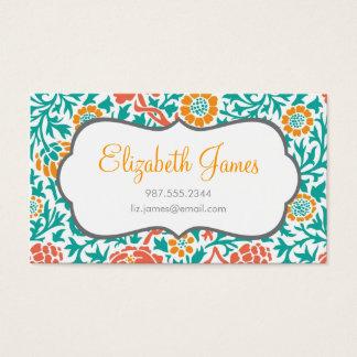 Coral del trullo y damasco floral retro anaranjado tarjeta de visita