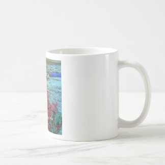 Coral, flores y buen mensaje taza de café