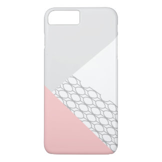 Coral gris geométrico moderno funda iPhone 7 plus